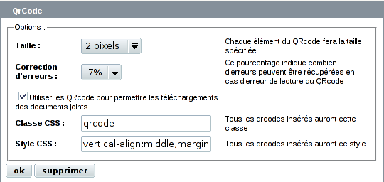 Configuration du plugin QrCode via CFG