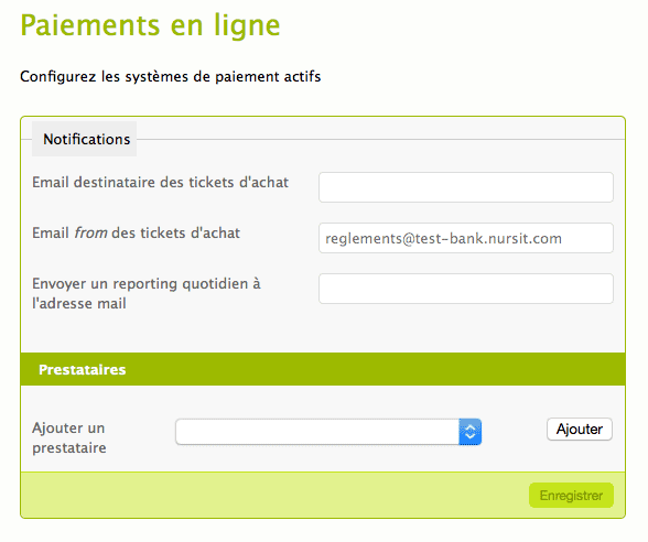 Configuration du plugin Bank